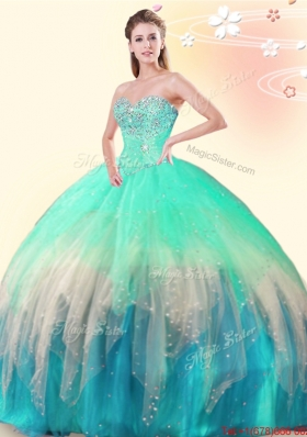 Unique Sweetheart Beaded Tulle Quinceanera Dress in Multi Color