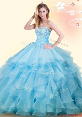 Wonderful Ruffled and Beaded Baby Blue Sweet 16 Dress in Organza