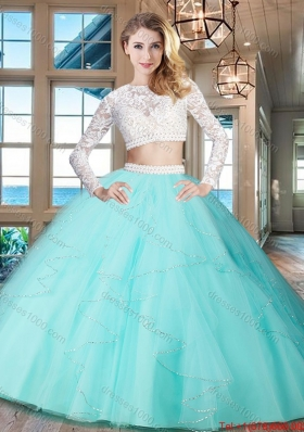 Designer See Through Zipper Up Aqua Blue Quinceanera Dress with Long Sleeves