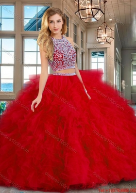 Exquisite Brush Train Ruffled Beaded Bodice Red Quinceanera Dress in Tulle