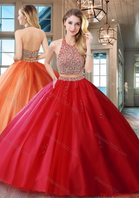 Exquisite Two Piece Red Backless Tulle Quinceanera Dress with Beaded Bodice