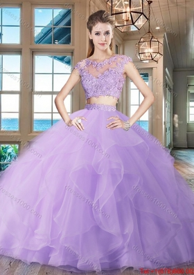 Latest Two Piece Brush Train Ruffled Organza Quinceanera Dress in Lavender