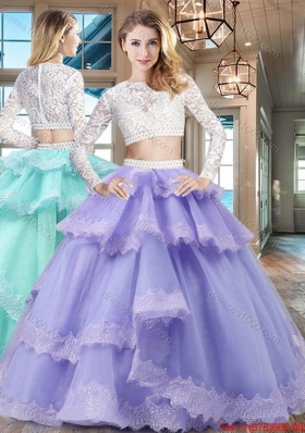 New Style Two Piece Scoop Lavender Quinceanera Dress in Tulle and Lace