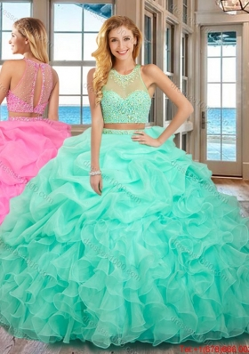 Pretty High Neck Two Piece Open Back Mint Quinceanera Dresses with Beading and Bubbles