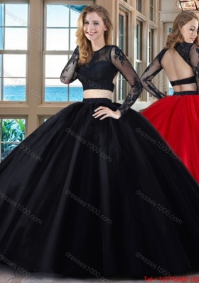 Puffy Scoop Tulle Appliques Backless Long Sleeves Two Piece Quinceanera Dresses in Red