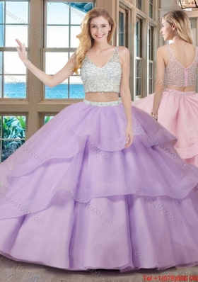 Two Piece Puffy V Neck Brush Train Fuchsia Quinceanera Dresses with Beading
