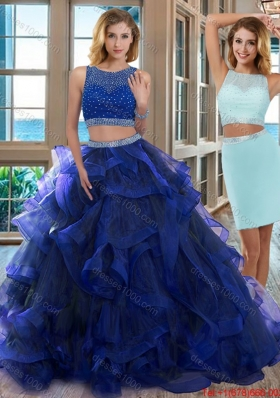 Two Piece Scoop Open Back Royal Blue Detachable Quinceanera Dresses with Beading
