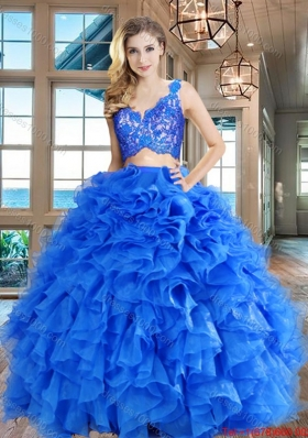Wonderful Zipper Up Organza Blue Quinceanera Dress with Ruffles and Lace