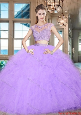 Beautiful Two Piece Ruffled Cap Sleeves Tulle Quinceanera Gown in Lavender