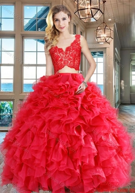 Designer V Neck Ruffled and Laced Bodice Organza Red Quinceanera Dress