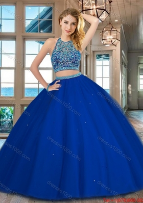 Lovely Beaded Bodice Scoop Royal Blue Quinceanera Dress with Open Back