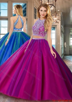 Perfect Really Puffy Brush Train Open Back Fuchsia Quinceanera Dress
