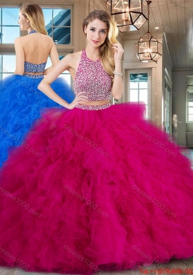Perfect Ruffled and Beaded Fuchsia Quinceanera Dress with Brush Train