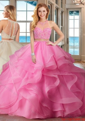 Pretty Two Piece Puffy High Neck Brush Train Baby Pink Quinceanera Dresses with Beading and Ruffles