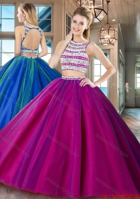 Romantic Two Piece Beaded Bodice Open Back Fuchsia Quinceanera Dress in Tulle