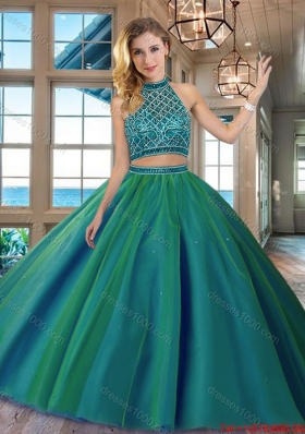 Unique Two Piece Beaded Bodice Backless Quinceanera Dress in Dark Green