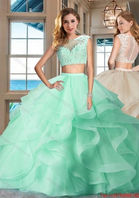 Fashionable Two Piece See Through Apple Green Quinceanera Dress with Brush Train