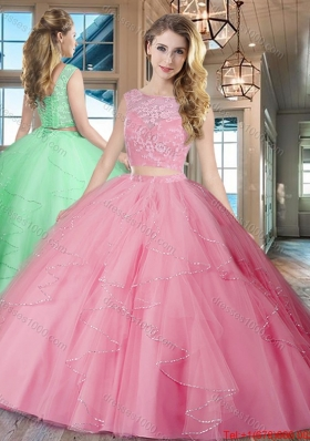 New Arrivals Ruffled and Laced Rose Pink Quinceanera Dress with Brush Train