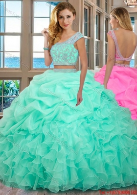 Puffy Scoop Organza Ruffled and Beaded Cap Sleeves Backless Mint Two Piece Quinceanera Dresses