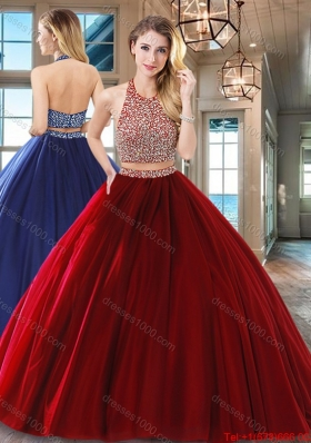 Simple Floor Length Beaded Decorated Waist Quinceanera Dress in Wine Red