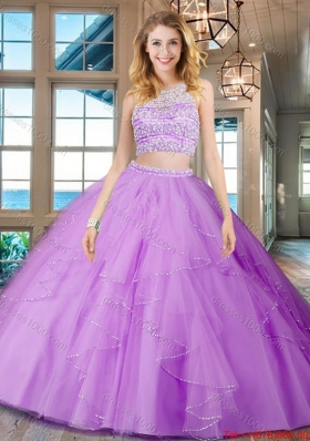 Best See Through Scoop Beaded Bodice and Ruffled Quinceanera Gown in Lilac