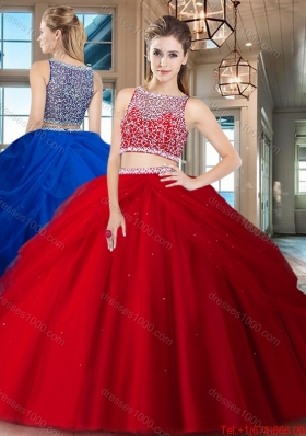 Cheap See Through Side Zipper Quinceanera Dress with Beading and Pick Ups