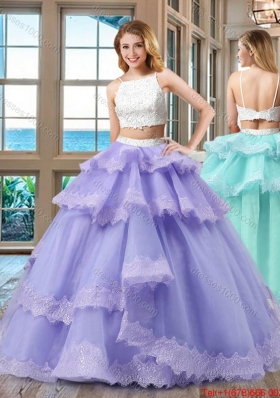 Cheap Straps Beaded Two Piece Backless White and Purple Two Piece Quinceanera Dresses
