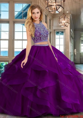 Classical Two Piece Brush Train Quinceanera Dress with Beading and Ruffles