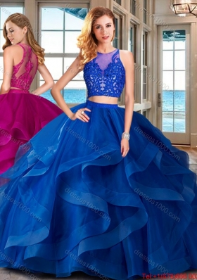 Discount Ruffled and Applique Zipper Up Quinceanera Gown with Brush Train