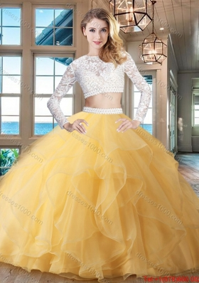 Exclusive Big Puffy Zipper Up Laced Ruffled Quinceanera Dress in Gold