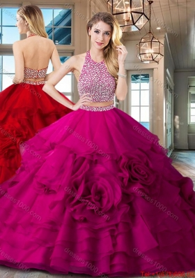 Exclusive Halter Top Brush Train Quinceanera Dress with Ruffles and Beading