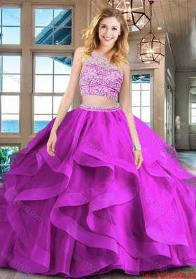 Fashionable Beaded Bodice and Ruffled Brush Train Quinceanera Dress in Fuchsia
