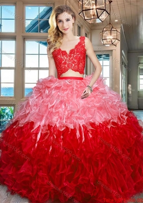 Modest Ruffled Zipper Up Organza Quinceanera Dress in Two Tone
