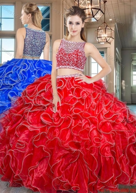Most Popular Two Piece Side Zipper Red Quinceanera Dress in Organza