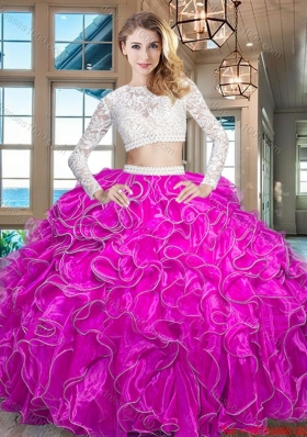 Popular Two Piece Long Sleeves Zipper Up Quinceanera Dress in Fuchsia