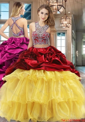 Pretty Ruffled Layers Wine Red and Yellow Quinceanera Dress with Brush Train