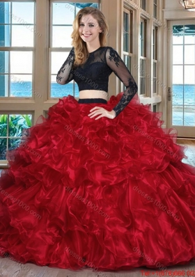 Two Piece Ball Gown Organza Ruffled Backless Red and Black Quinceanera Dresses with Long Sleeves