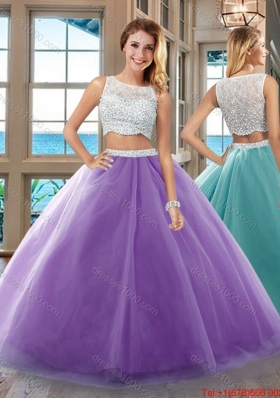 Two Piece Puffy Bateau Side Zipper Purple Quinceanera Dresses with Beading