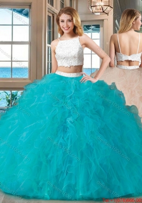 Two Piece Straps Tulle Beaded Two Piece Backless Quinceanera Dresses White and Blue