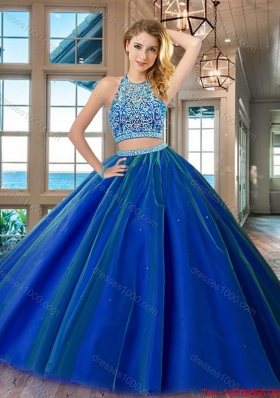 Unique Two Piece Royal Blue Open Back Quinceanera Dress in Tulle