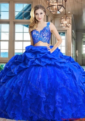Affordable Tulle and Taffeta Royal Blue Quinceanera Dress with Ruffles and Lace