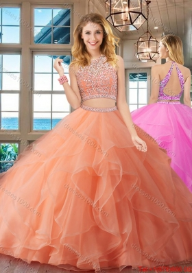 Luxurious Beaded Bodice and Ruffled Peach Quinceanera Dress with Brush Train