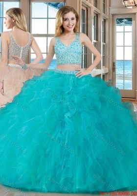 Puffy Ball Gown V Neck Tulle Two Piece Quinceanera Dresses with Beading and Ruffles