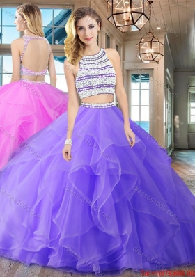 Top Seller Two Piece Brush Train Quinceanera Dress with Ruffles and Beading