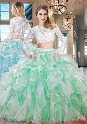 Top Seller Two Piece Laced and Ruffled Quinceanera Dress in Apple Green