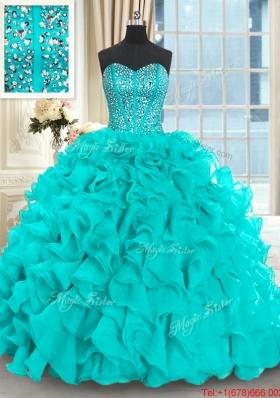 Luxurious Visible Boning Beaded Bodice Aquamarine Quinceanera Dress with Brush Train