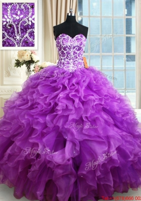 Pretty Organza Eggplant Purple Quinceanera Dress with Ruffles and Beading