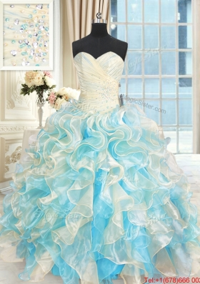 Pretty Organza Ruffled and Beaded Quinceanera Dress in Multi Color