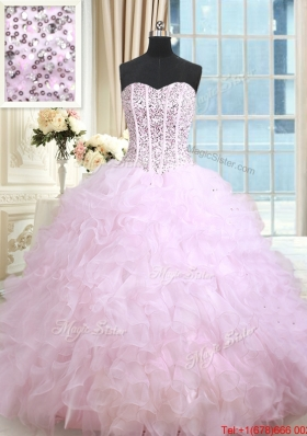 Perfect Visible Boning Ruffled and Beaded Bodice Lilac Quinceanera Dress in Organza
