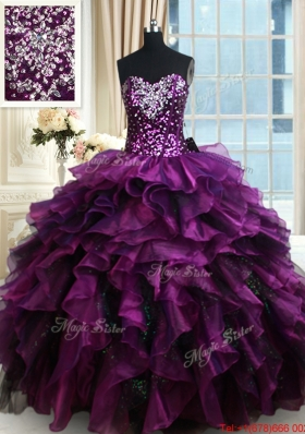 Top Seller Sequined Beaded and Ruffled Organza Quinceanera Dress in Purple